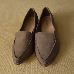 Aldo's Light Grey Suede Pointed Toe Loafers for Wo